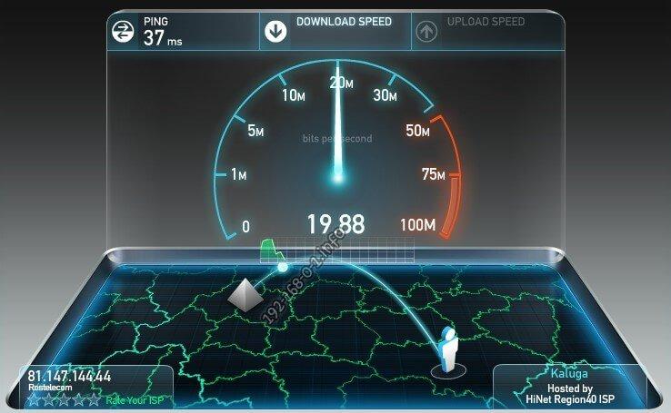 замер тест скорости интернет соединения ростелеком