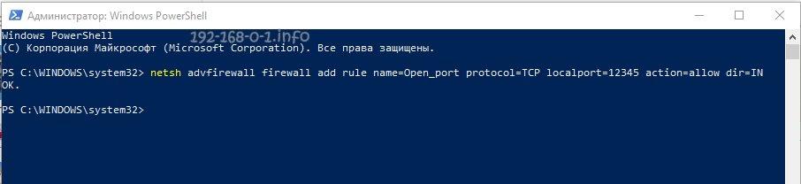 открыть порт через командную строку windows 10